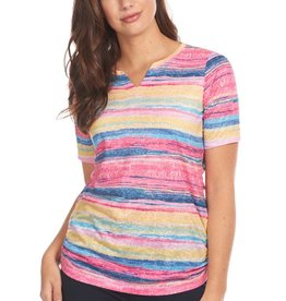 French Dressing Notched Crew Top Sunrise