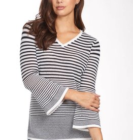 French Dressing Mesh Stripe Sweater Navy/White
