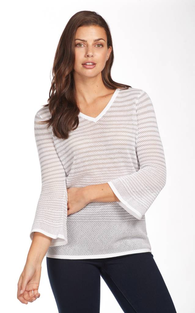 French Dressing Mesh Stripe Sweater Silver/White