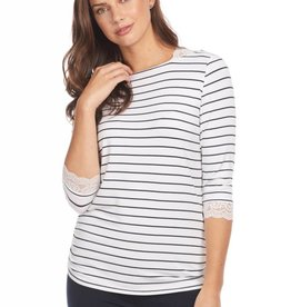 French Dressing Nautical Stripe Top White/Navy