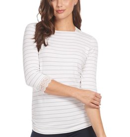 French Dressing Nautical Stripe Top White/Silver