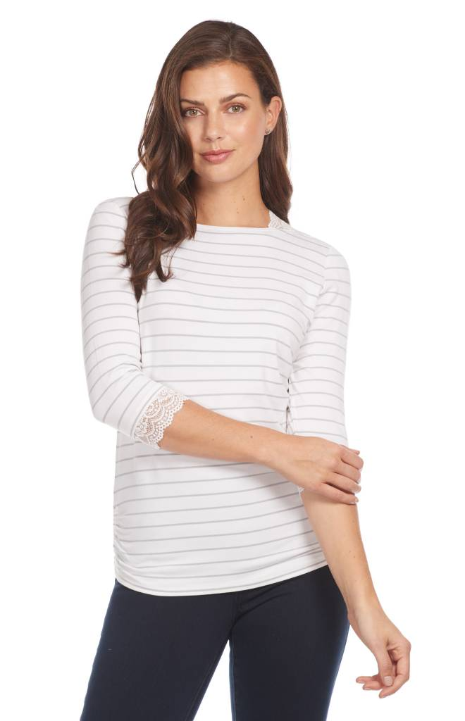 French Dressing Nautical Stripe Top White/Silver