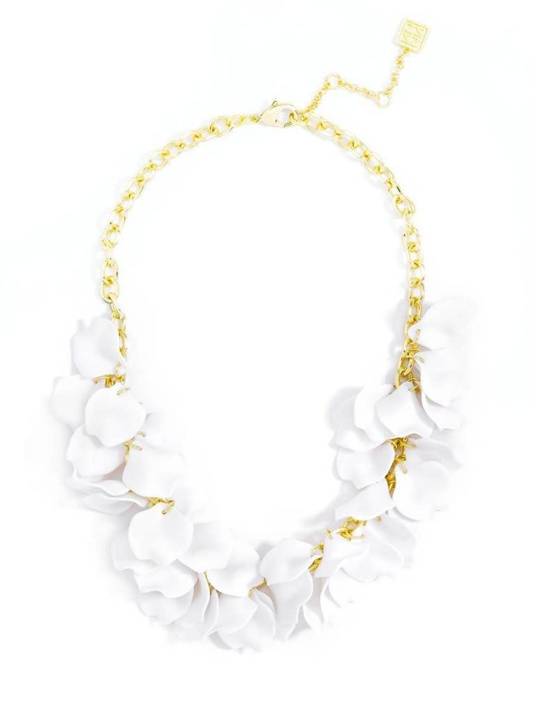Jewelry Painted Petals Necklace White