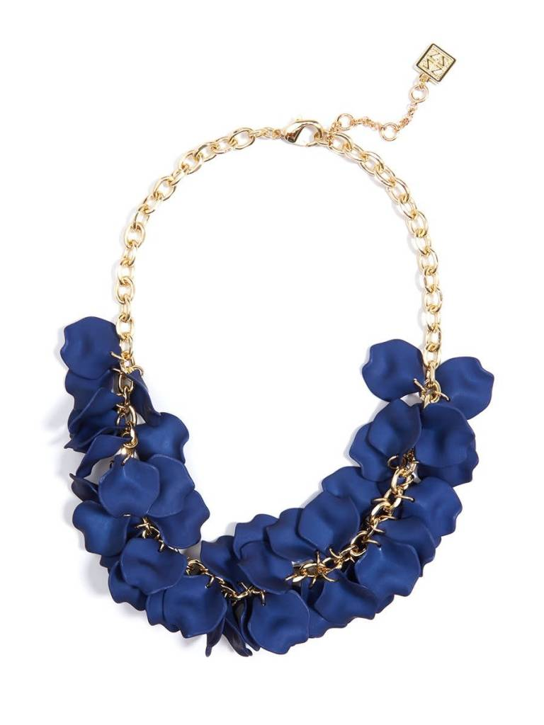 Jewelry Painted Petals Necklace Navy