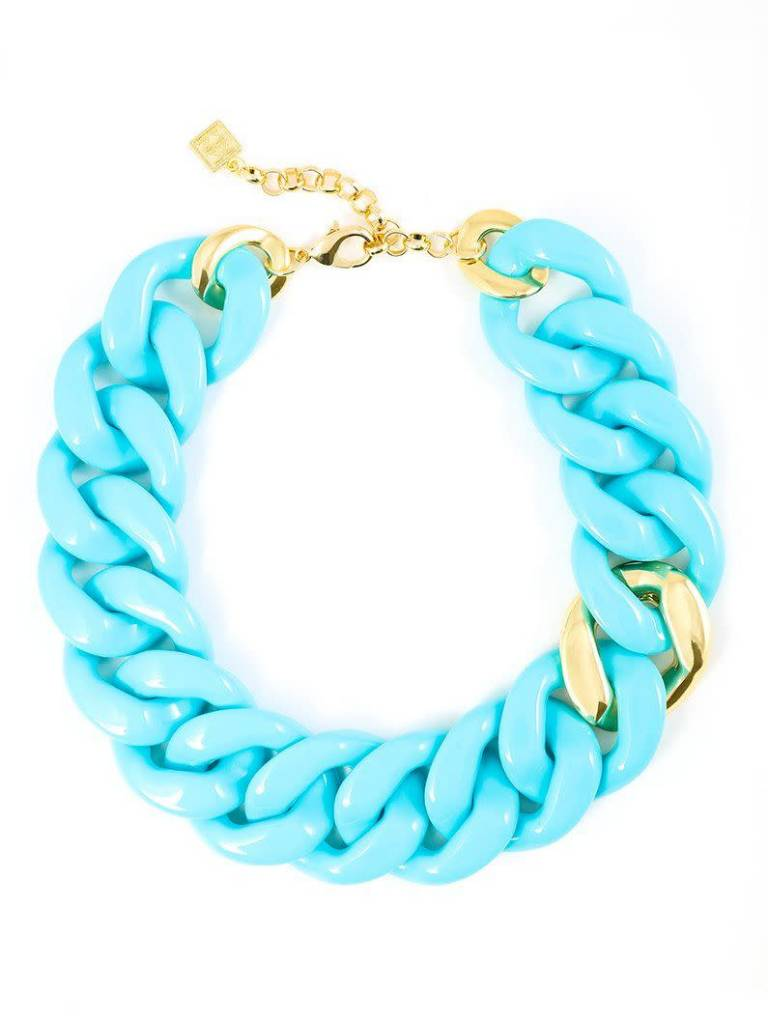 Jewelry Thick Link Necklace Bright Blue