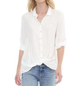 Bobi Button Up Twist Shirt White