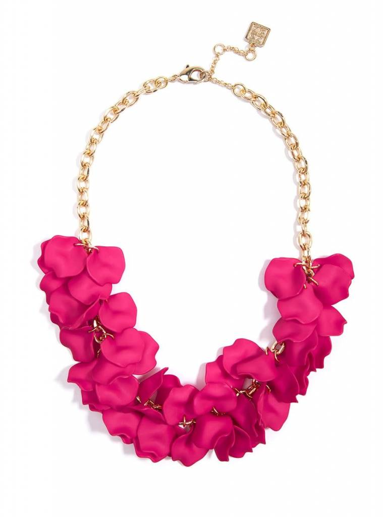 Jewelry Painted Petals Necklace Hot Pink