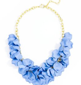 Jewelry Painted Petals Necklace Light Blue