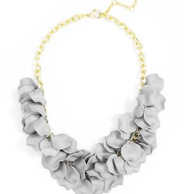 Jewelry Painted Petals Necklace Gray