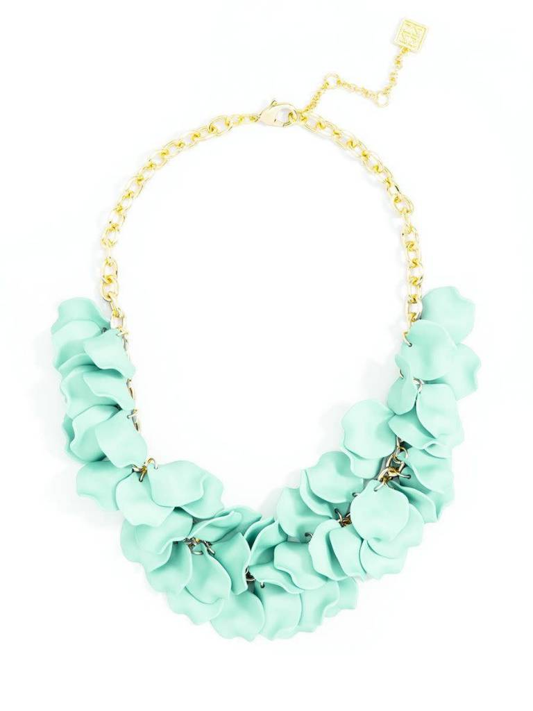 Jewelry Painted Petals Necklace Mint