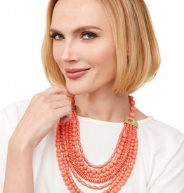 Jewelry Mixed Beads Layered Necklace Coral