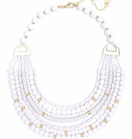 Jewelry Mixed Beads Layered Necklace White