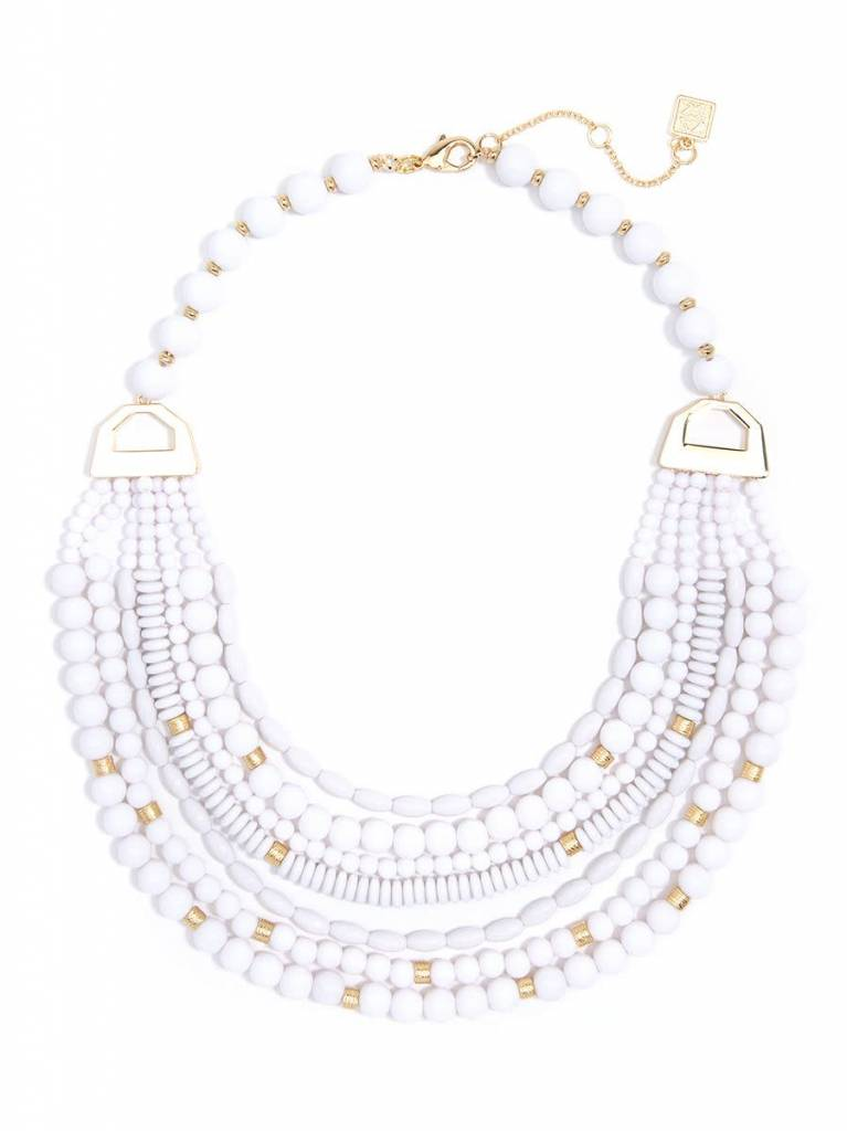 Jewelry Mixed Beads Layered Necklace White