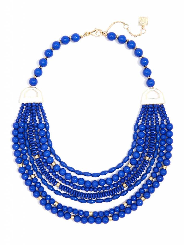 Jewelry Mixed Beads Layered Necklace Cobalt