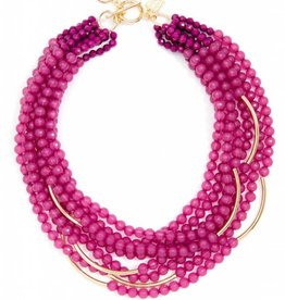 Jewelry Multi Strand Translucent Beads Necklace Berry