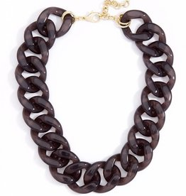 Jewelry Lucite Links Collar Necklace Black