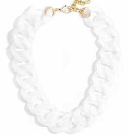 Jewelry Lucite Links Collar Necklace White