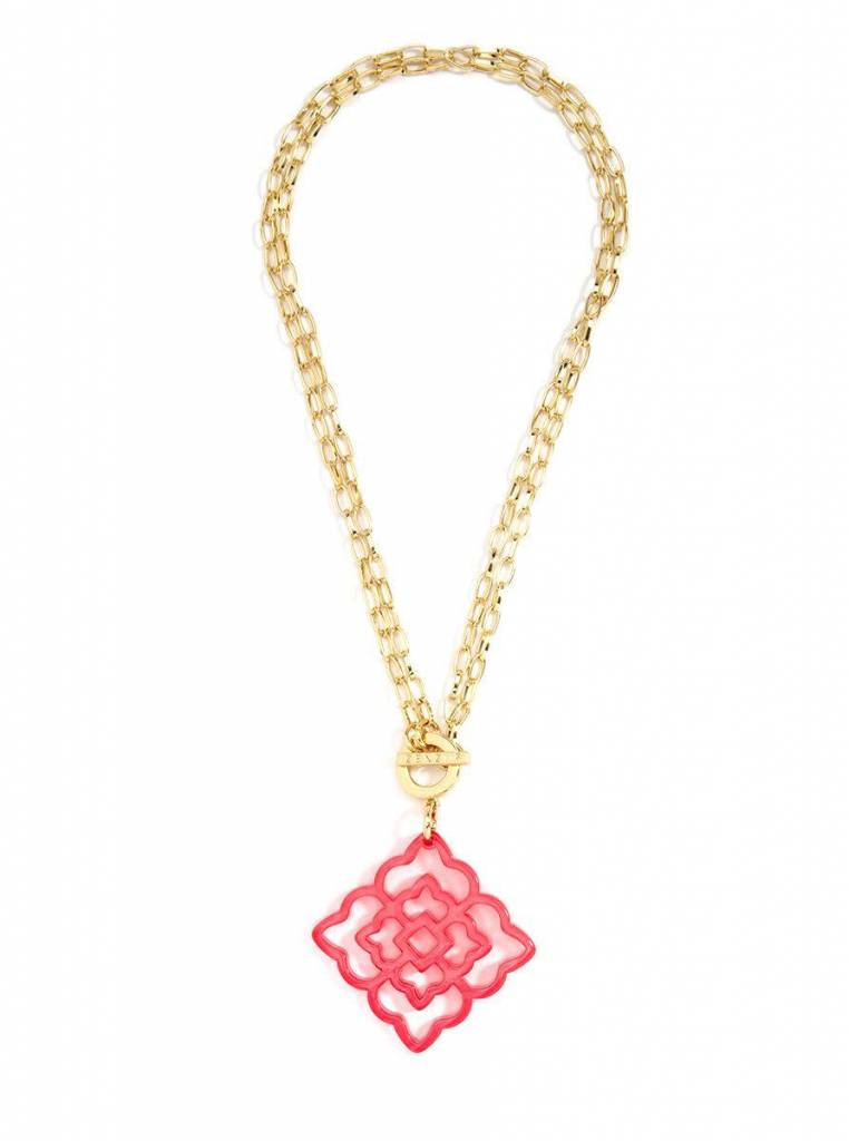 Jewelry Flower Resin Pendant Necklace Neon Pink