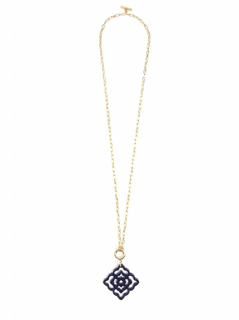 Jewelry Flower Resin Pendant Necklace Navy