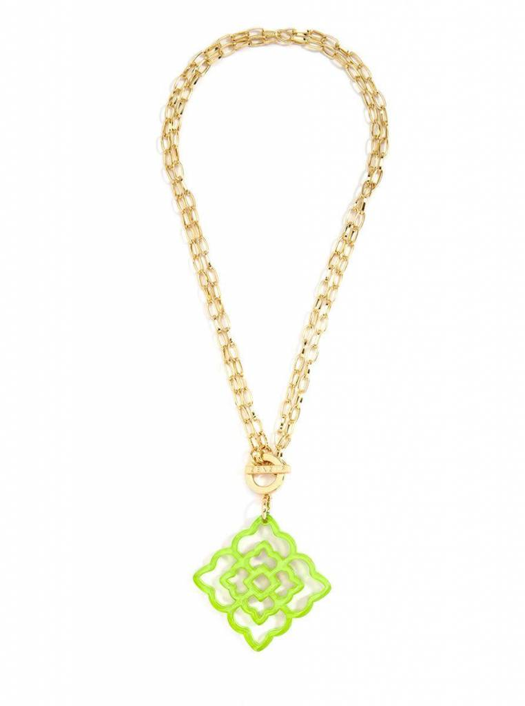 Jewelry Flower Resin Pendant Necklace Lime