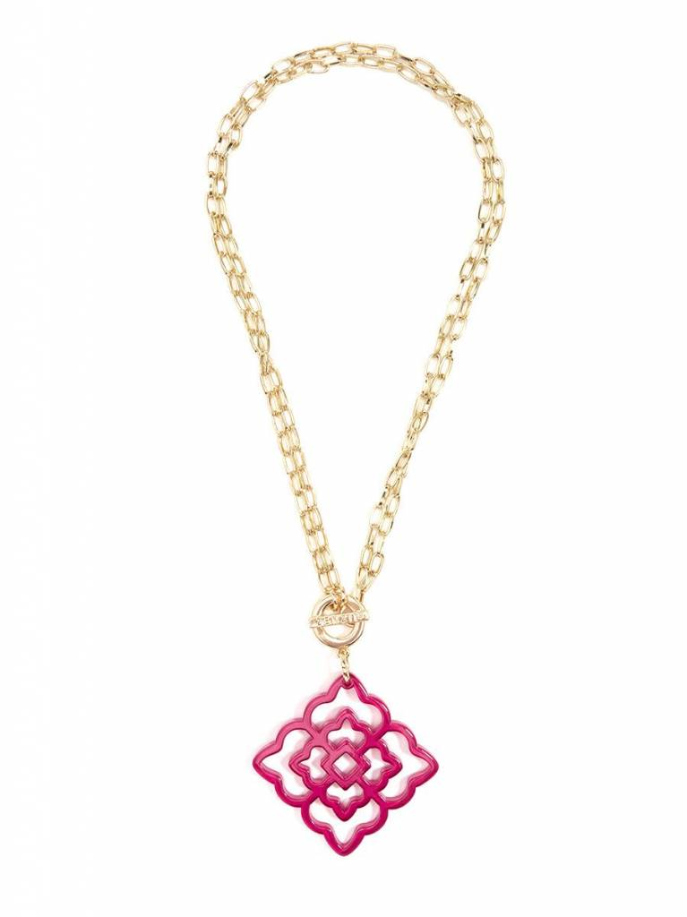 Jewelry Flower Resin Pendant Necklace Hot Pink