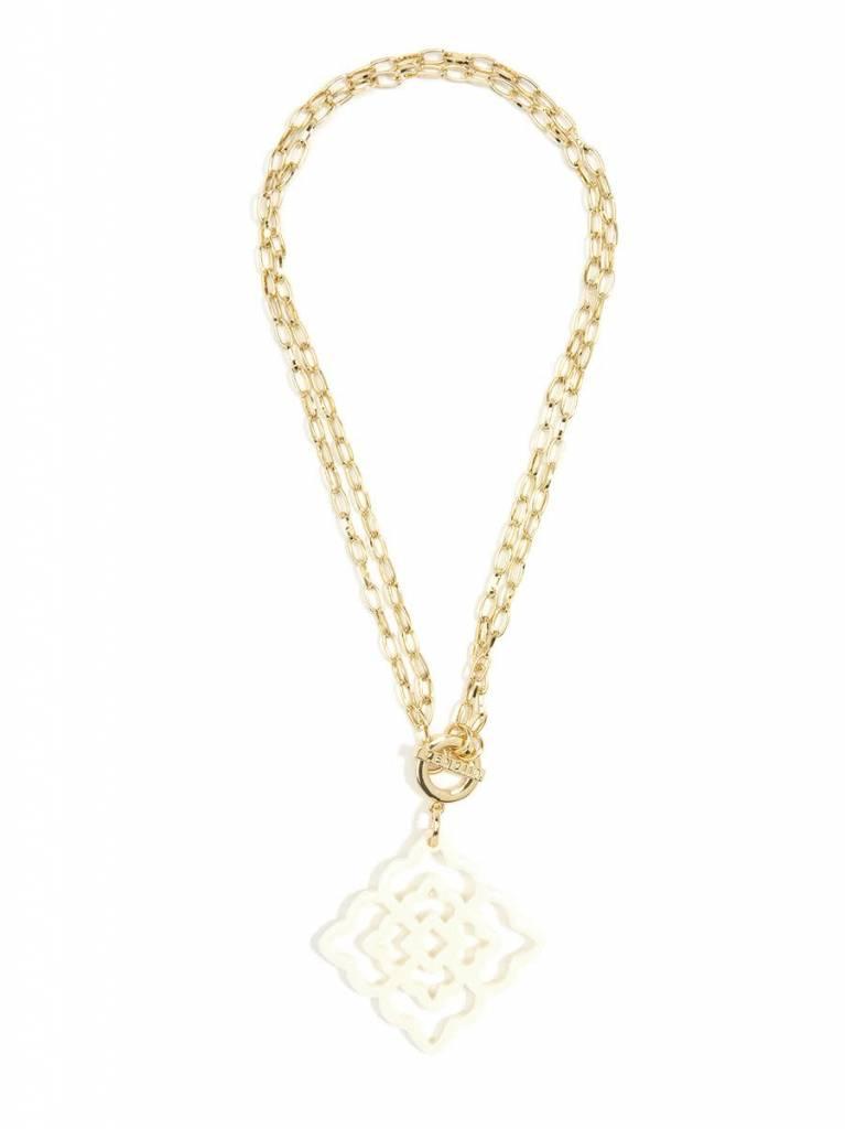 Jewelry Flower Resin Pendant Necklace Cream