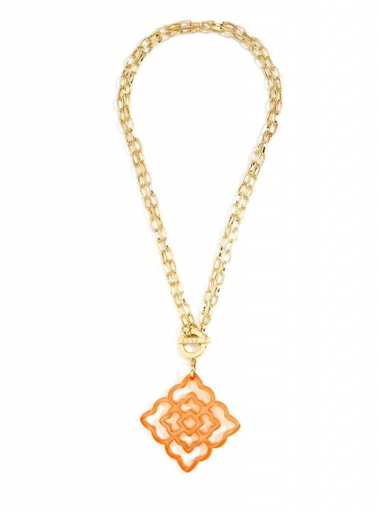Jewelry Flower Resin Pendant Necklace Orange