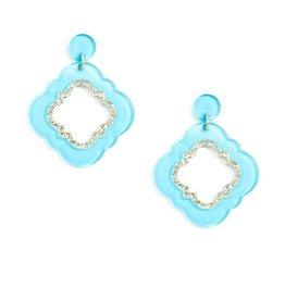 Jewelry Quatrefoil Drop Earring Bright Blue
