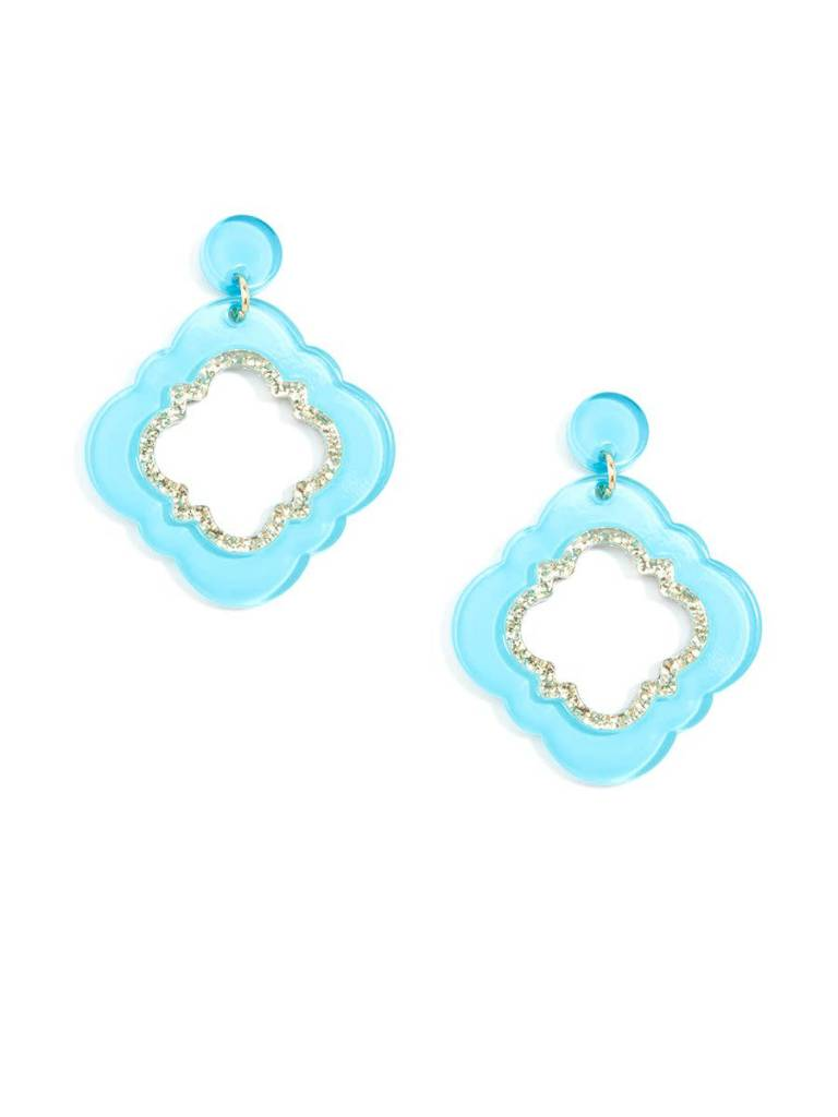 Jewelry Quatrefoil Drop Earring Bright Blue