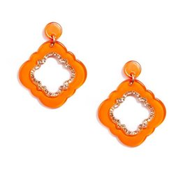 Jewelry Quatrefoil Drop Earring Bright Orange