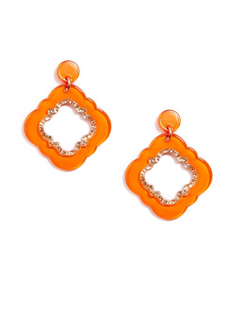 Jewelry Quatrefoil Drop Earring Bright Orange