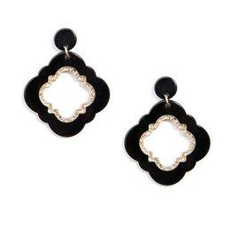 Jewelry Quatrefoil Drop Earring Black