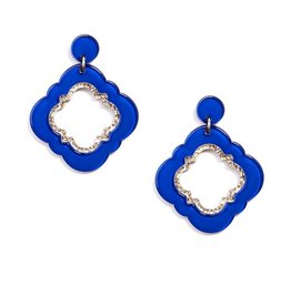 Jewelry Quatrefoil Drop Earring Cobalt