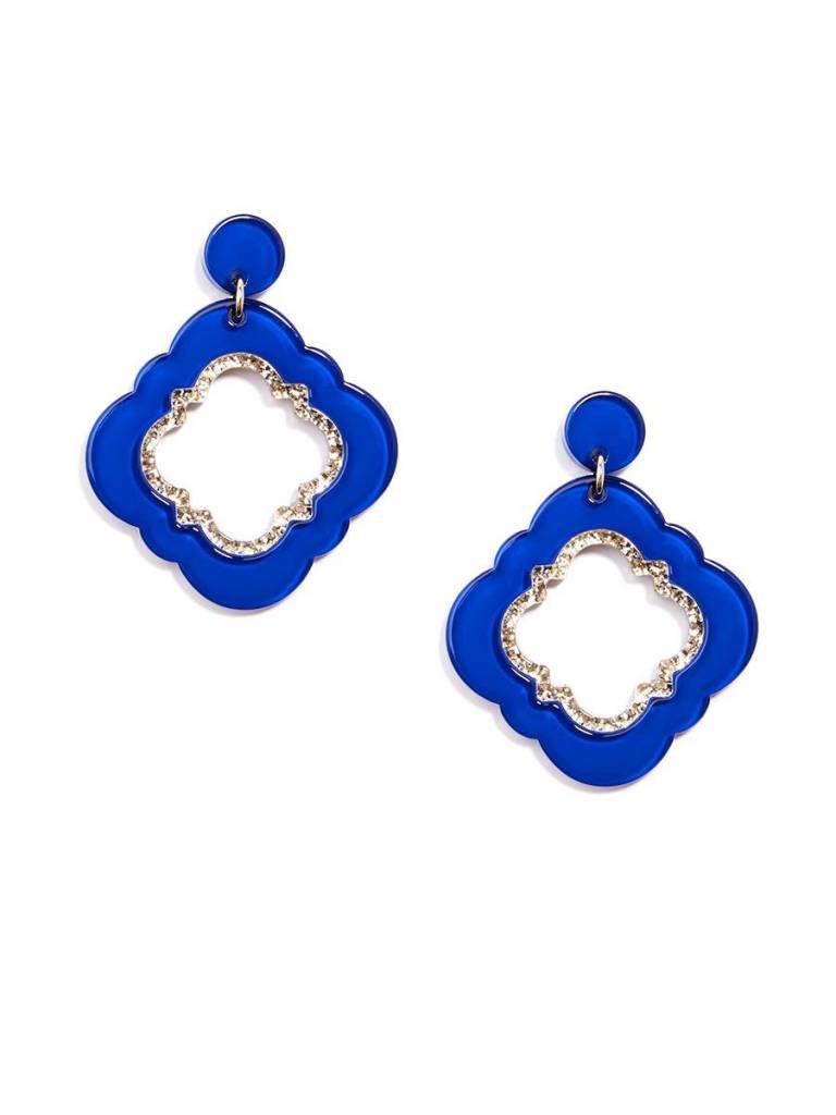 Jewelry Quatrefoil Drop Earring Cobalt