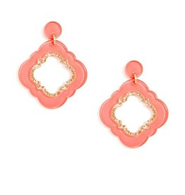 Jewelry Quatrefoil Drop Earring Coral