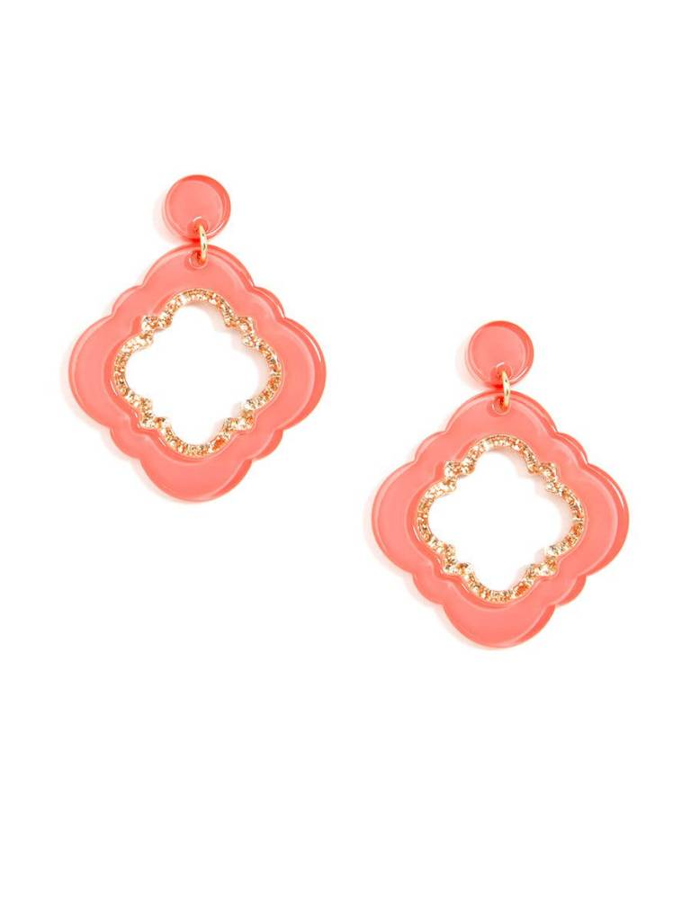 Jewelry Quatrefoil Drop Earring Coral