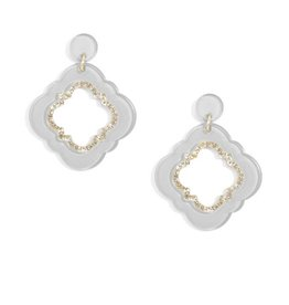 Jewelry Quatrefoil Drop Earring Gray