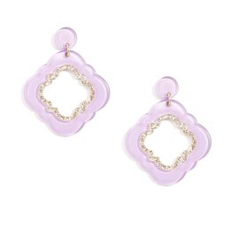 Jewelry Quatrefoil Drop Earring Lavender