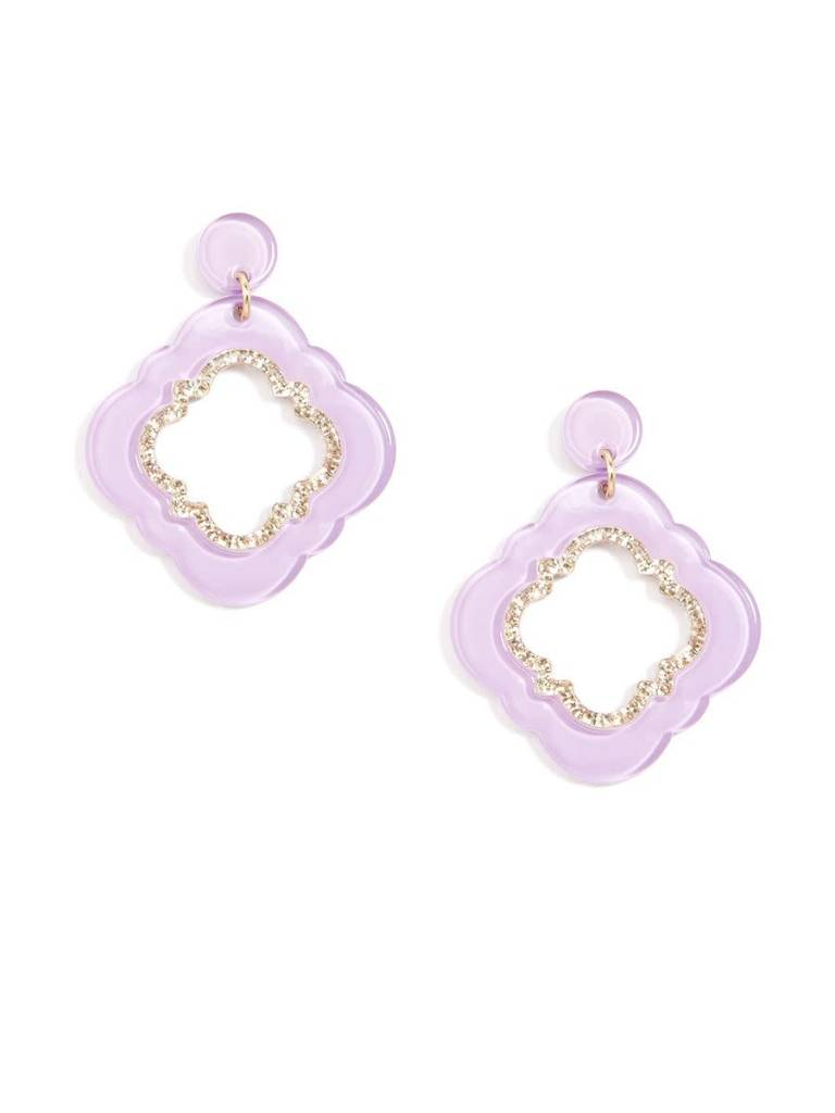 Jewelry Quatrefoil Drop Earring Lavender