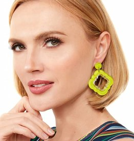 Jewelry Quatrefoil Drop Earring Lime