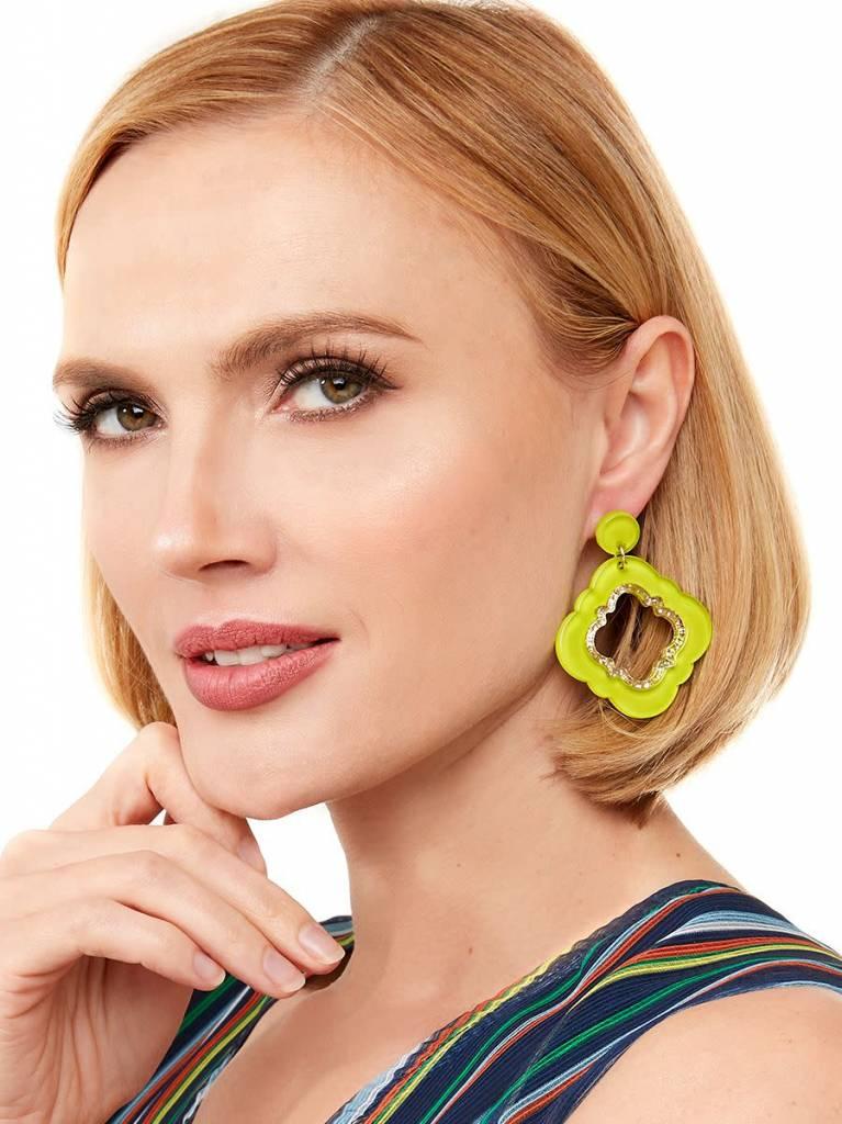Jewelry Quatrefoil Drop Earring Lime