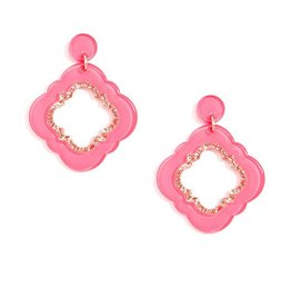 Jewelry Quatrefoil Drop Earring Neon Pink