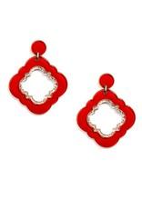 Jewelry Quatrefoil Drop Earring Red
