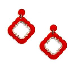 Jewelry Quatrefoil Drop Earring Red