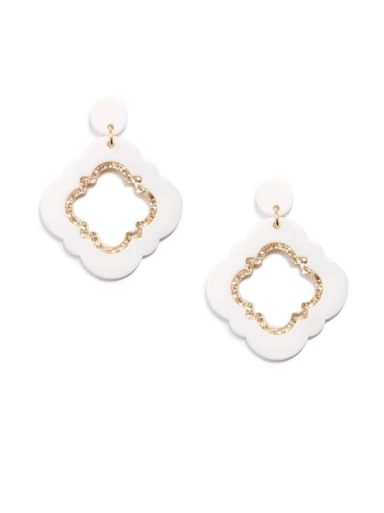 Jewelry Quatrefoil Drop Earring White