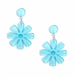 Jewelry Lucite Flower Drop Earring Bright Blue