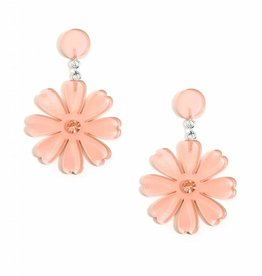 Jewelry Lucite Flower Drop Earring Beige