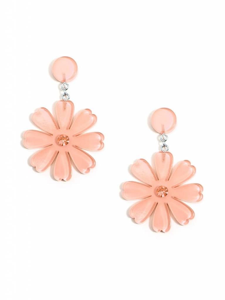 Jewelry Lucite Flower Drop Earring Beige