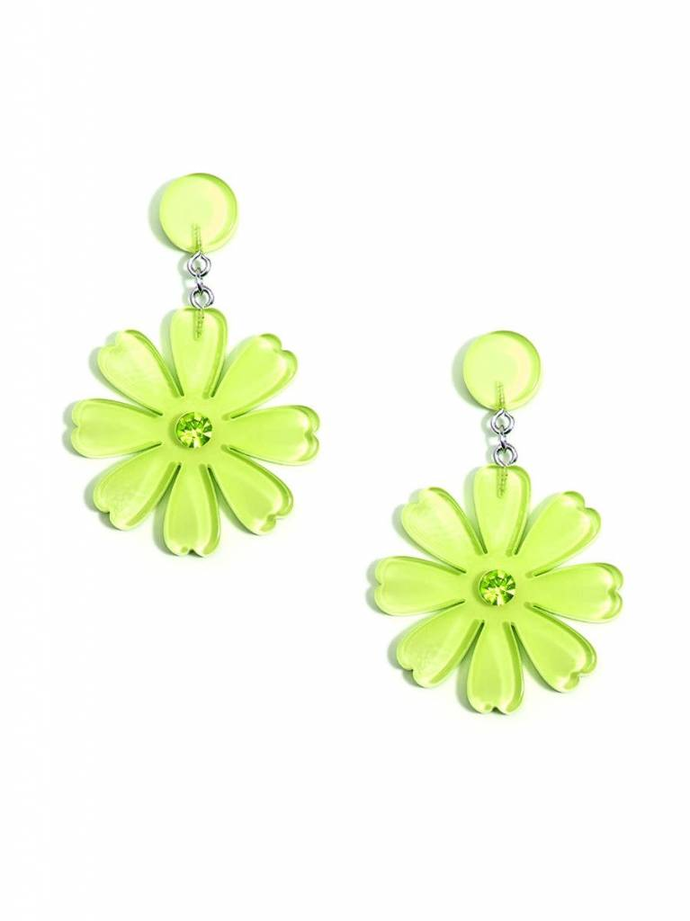 Jewelry Lucite Flower Drop Earring Lime