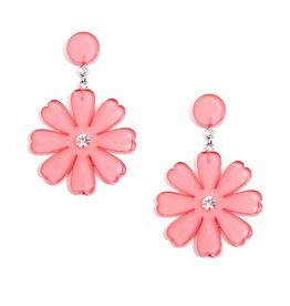 Jewelry Lucite Flower Drop Earring Pink